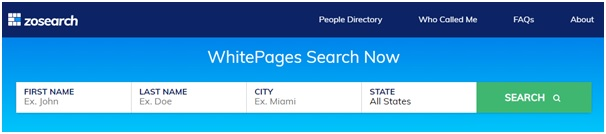 use Zosearch whitepages