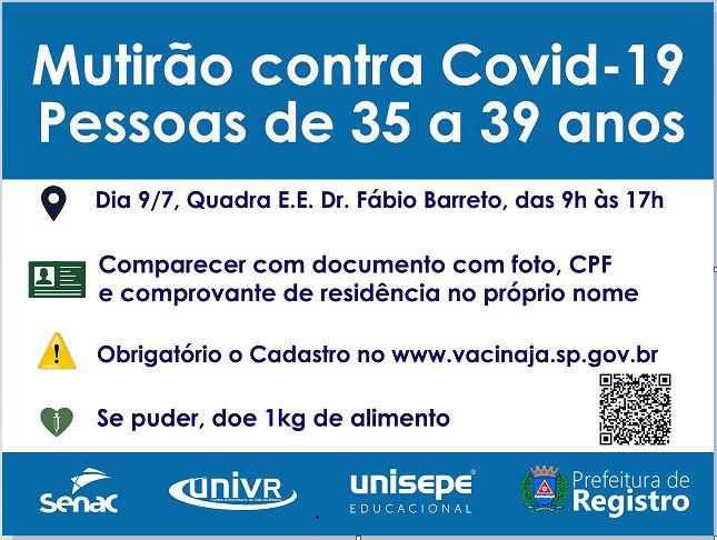 Secretaria de Saúde realiza mutirão de vacinação contra Covid-19 para munícipes de 35 a 39 anos