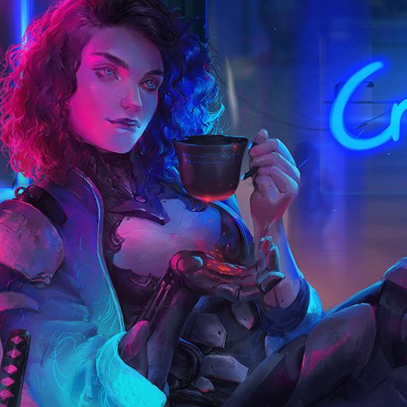 Cyberpunk Tea break Wallpaper Engine