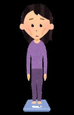 体重計に乗る人のイラスト(女性・痩身)
