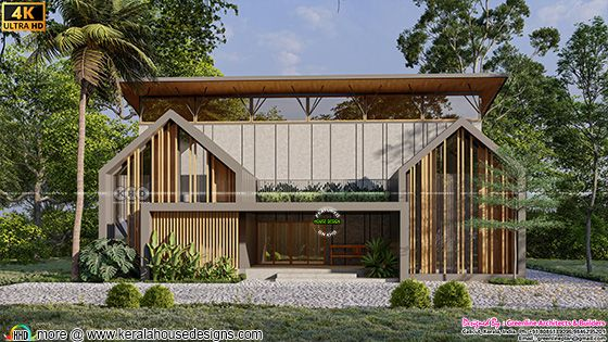 Unique tropical home rendering