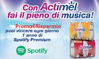 Logo ''Con Actimel fai il pieno di musica'': vinci ogni giorno 1 anno a Spotify Premium