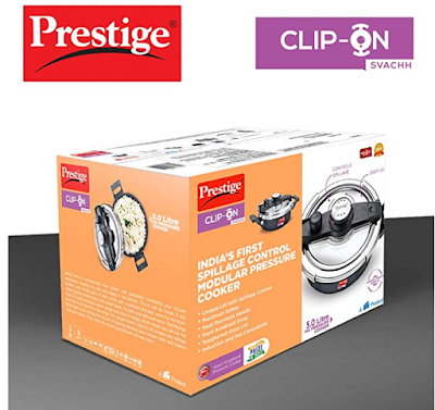 Prestige Svachh Clip-on 5 Litre Hard Anodised Pressure cooker Safer and Cleaner Than Ever Before