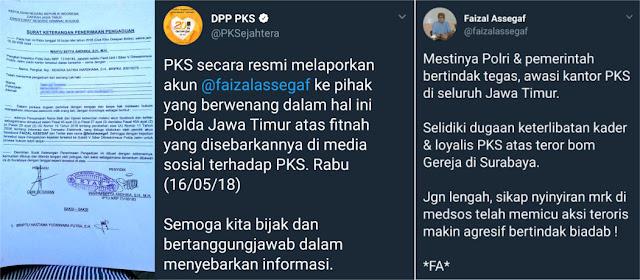 Resmi! PKS Polisikan @faizalassegaf Atas Fitnah Dikaitkan Teroris Bom Gereja Surabaya