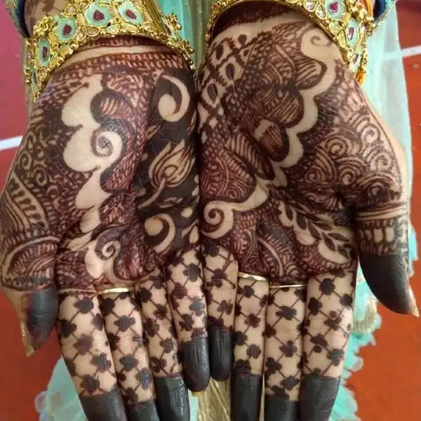 Small_flowers_with_net_henna_design