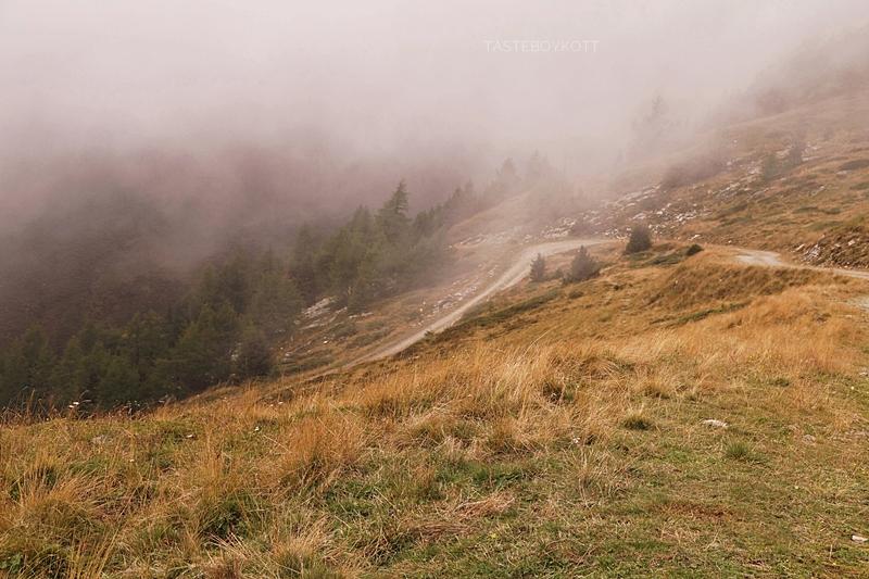 Urlaub im Lungau, Österreich, im Herbst: Wandern auf dem Speiereck bei Nebel