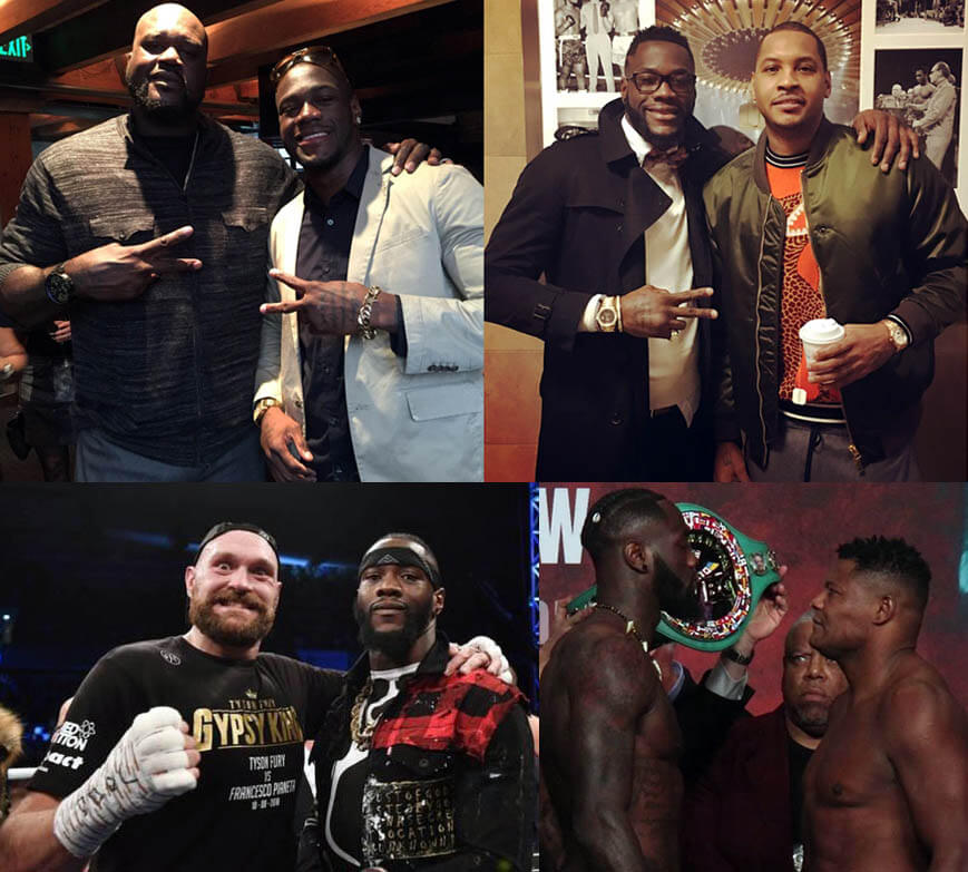 """Deontay Wilder standing with with Shaquille O'Neal (7'1""""), Carmelo Anthony (6'6.5""""), Tyson Fury (6'7.5""""), and Luis Ortiz (6'2.5"""")"""