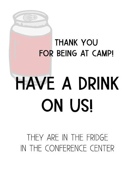 YW Camp Chaperone Gifts - soda coupon.