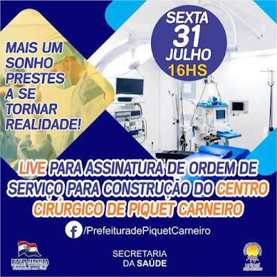 Prefeito de Piquet Carneiro (CE), Bismarck Barros assina ordem de serviço para construção de centro cirúrgico