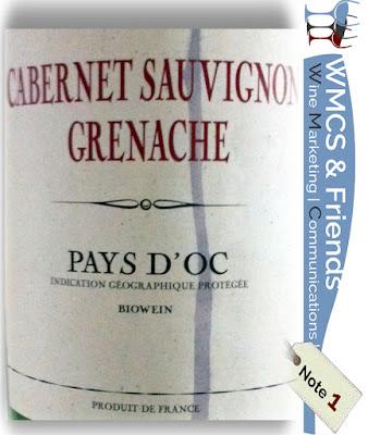 Aldi Nord Test und Bewertung französischer Rotwein (Biowein): Biowein Cabernet Sauvignon Grenache Pays d'Oc 2015