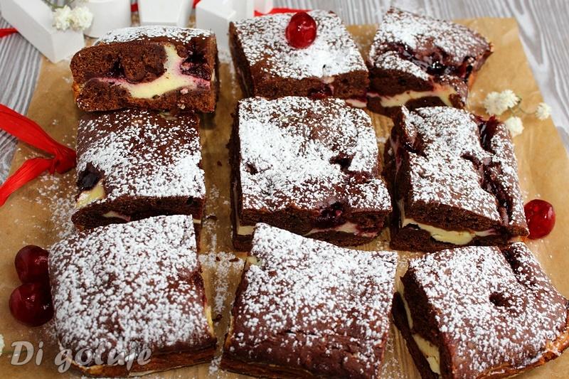 Ciasto czekoladowe z serem i wiśniami