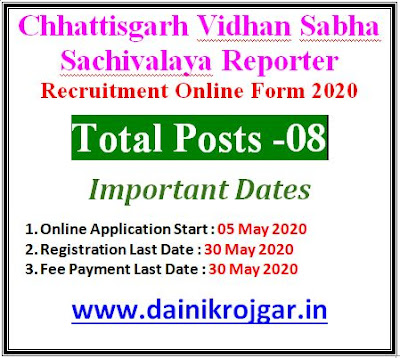 Chhattisgarh Vidhan Sabha Reporter Online Form 2020