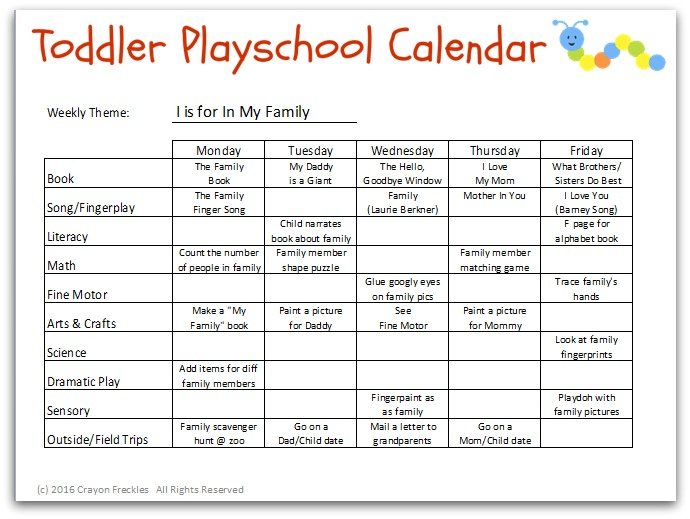 image regarding Free Printable Lesson Plans for Toddlers named Crayon Freckles: Infant Playschool: I is for In just My Household