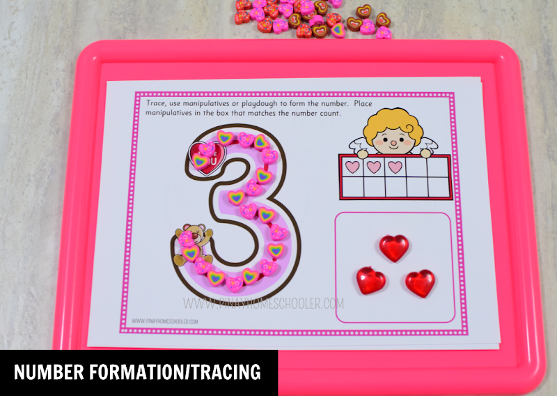 Valentines Day Theme Resource Number Formation or Tracing