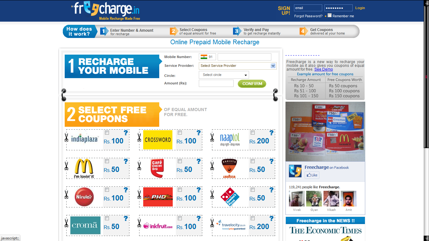 A comprehensive database of Mobile Recharge coupons, discount codes & deals. Free Wallet Cash upto Rs. + Extra Bonuses for New Users. Get Deal. Recharge your mobile swiftly in few simple steps with FreeCharge. Also, avail great offers on food, .