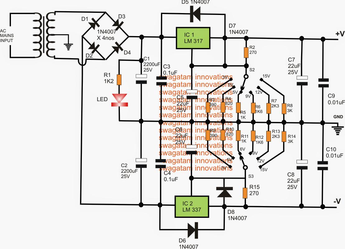 adjustable 3v  5v  6v  9v 12v 15v dual power supply circuit 12 volt dual power supply circuit diagram 70 Amp 12 Volt Power Supply