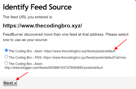 Select the first option from the sources list to use it as your feed address and click next