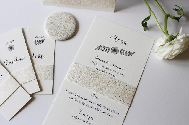 menu mariés sur mesure original délicat chic mariage trendy