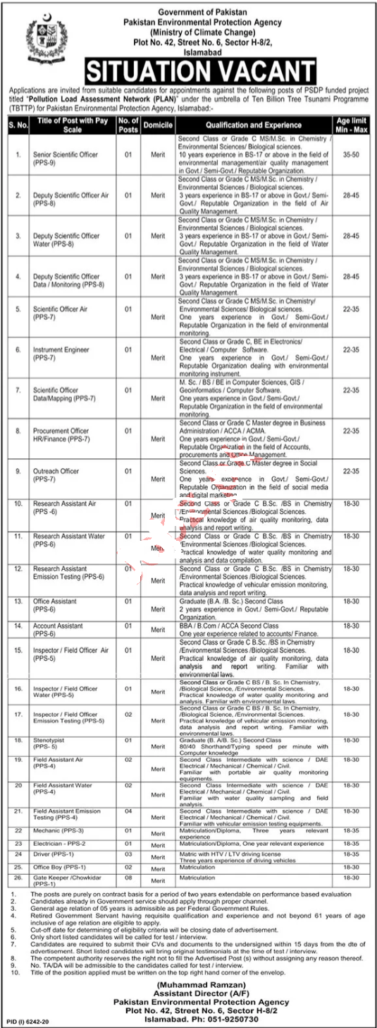 Ministry of Climate Change Islamabad Jobs 2021 for Scientific Officer, Senior Scientific Officer, Deputy Scientific Officer Air, Deputy Scientific Officer Water and many more