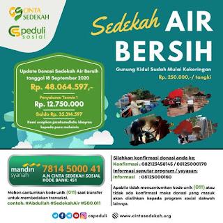Mari Bersedekah Air Bersih di Pelosok Gunung Kidul bersama Yayasan Cinta Sedekah