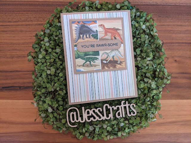 Card made with Carta Bella Dinosaur 6x6 Paper Pad by Jess Crafts
