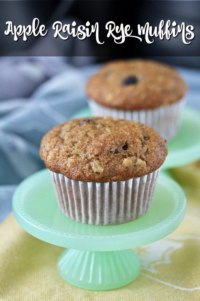 Apple raisin rye muffins on pedestal