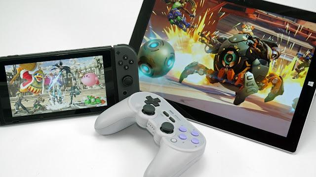 وحدة تحكم SN30 Pro + مع جهاز لوحي Surface ووحدة تحكم Nintendo Switch