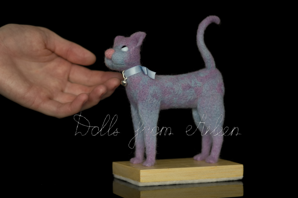 ooak needle felted cat sculpture with human hand