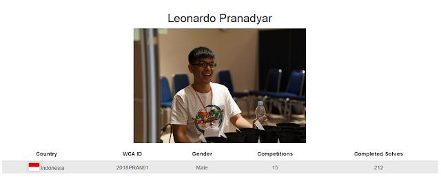 Profile akun WCA dari Leonardo Pranadyar yang berada pada peringkat 1 serta pemegang rekor nasional menyelesaikan rubik dengan tutup mata