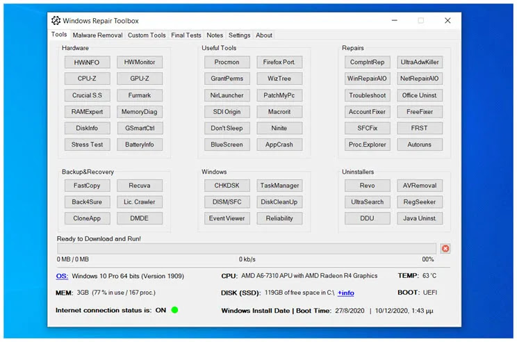 Windows Repair Toolbox : Δωρεάν λογισμικό για τη διάγνωση και επίλυση  προβλημάτων στα Windows