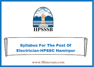 Syllabus For The Post Of Electrician-HPSSC Hamirpur