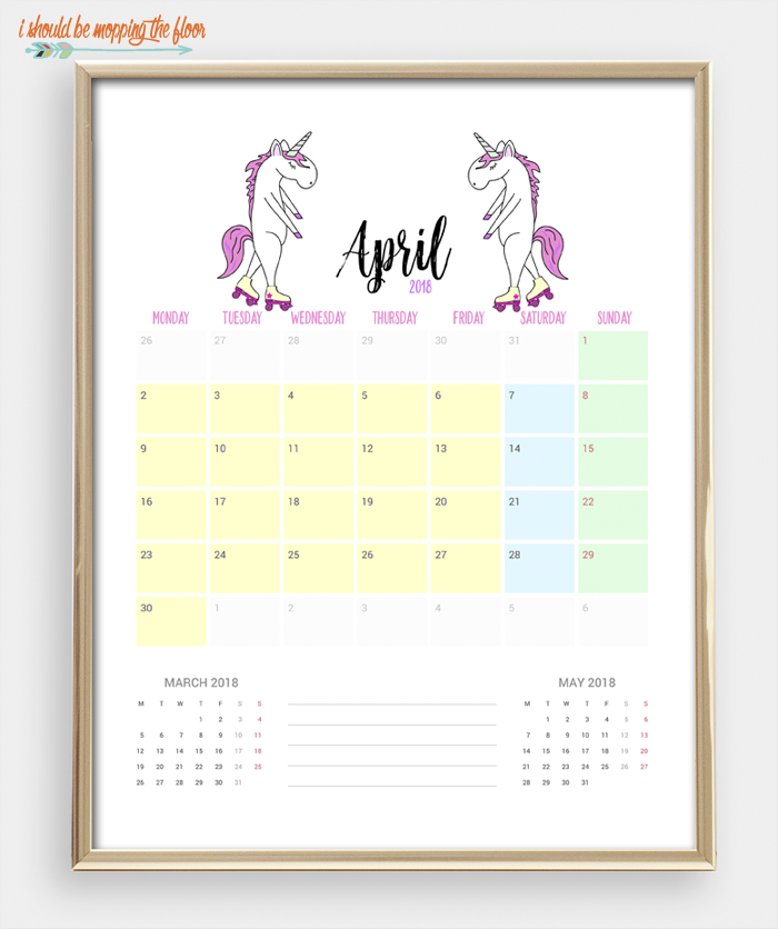2018 Printable Unicorn Calendar | 12 months of MAGICAL UNICORN love ready to print and enjoy. Bonus Unicorn Weekly Planner Printable, too!