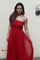 Actress Sana Khan Latest Pos in Georgius Spicy Red Long Dress at the Interview  0003.jpg