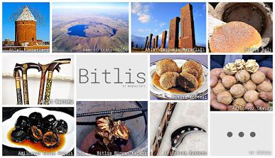Bitlis'in meşhur şeylerini gösteren resimlerden oluşan kolaj
