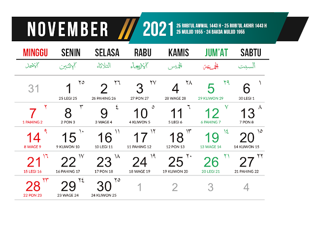 Preview Desain Template Kalender 2021 Bulan November