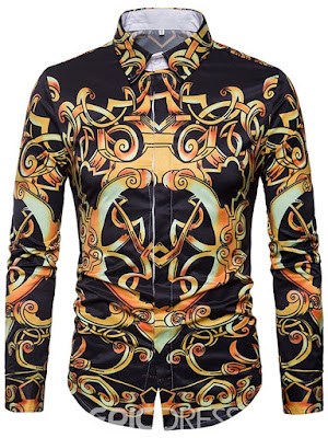 Print Vintage Long Sleeve Men's Shirt