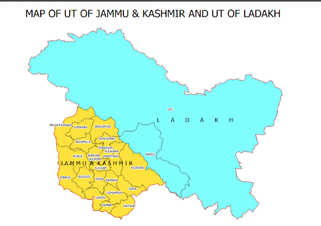 Map of Jammu Kashmir and Ladakh