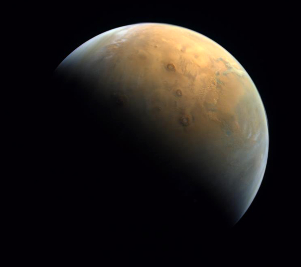 An image of Mars that was taken by the United Arab Emirates' Hope spacecraft the day after it entered orbit around the Red Planet...on February 10, 2021.