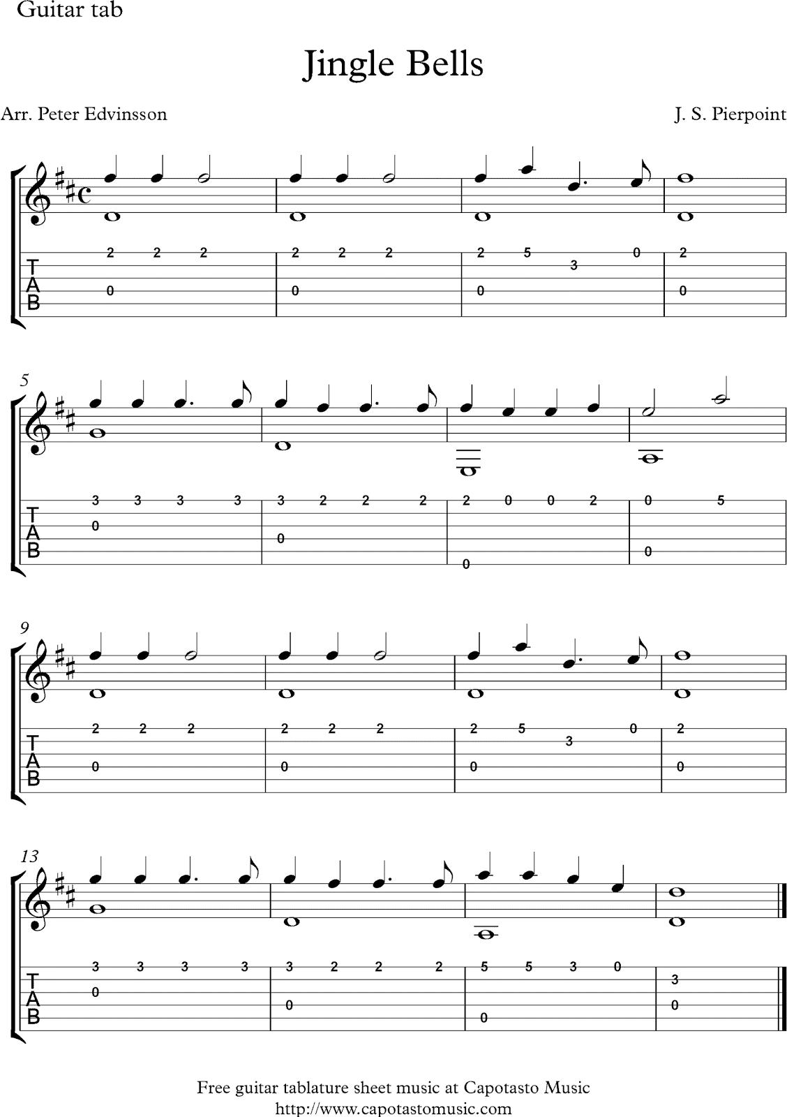 Christmas Guitar Tabs.Music Play To Find Jingle Bells Free Christmas Guitar Tab