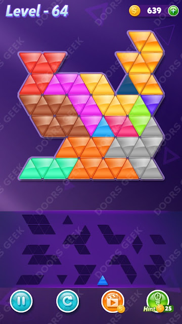 Block! Triangle Puzzle Champion Level 64 Solution, Cheats, Walkthrough for Android, iPhone, iPad and iPod