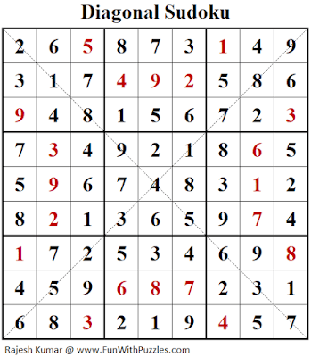 Answer of Diagonal Sudoku Puzzle (Fun With Sudoku #291)
