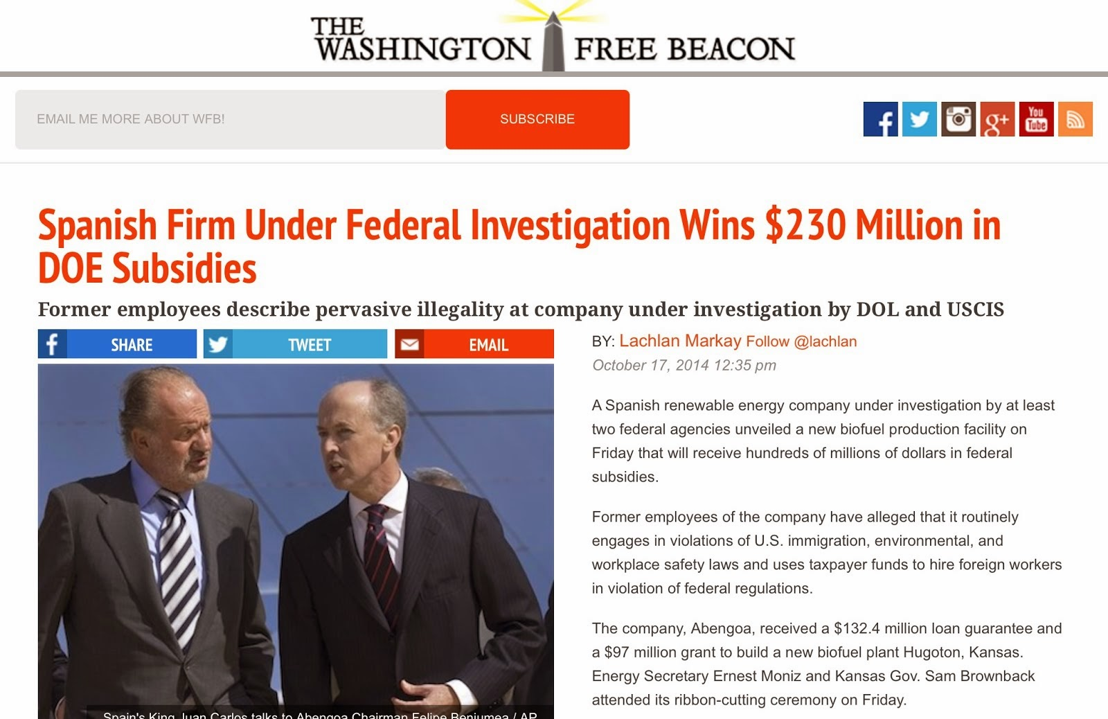 October 17, 2014: @ the Washington Free Beacon Exposes Abengoa Again