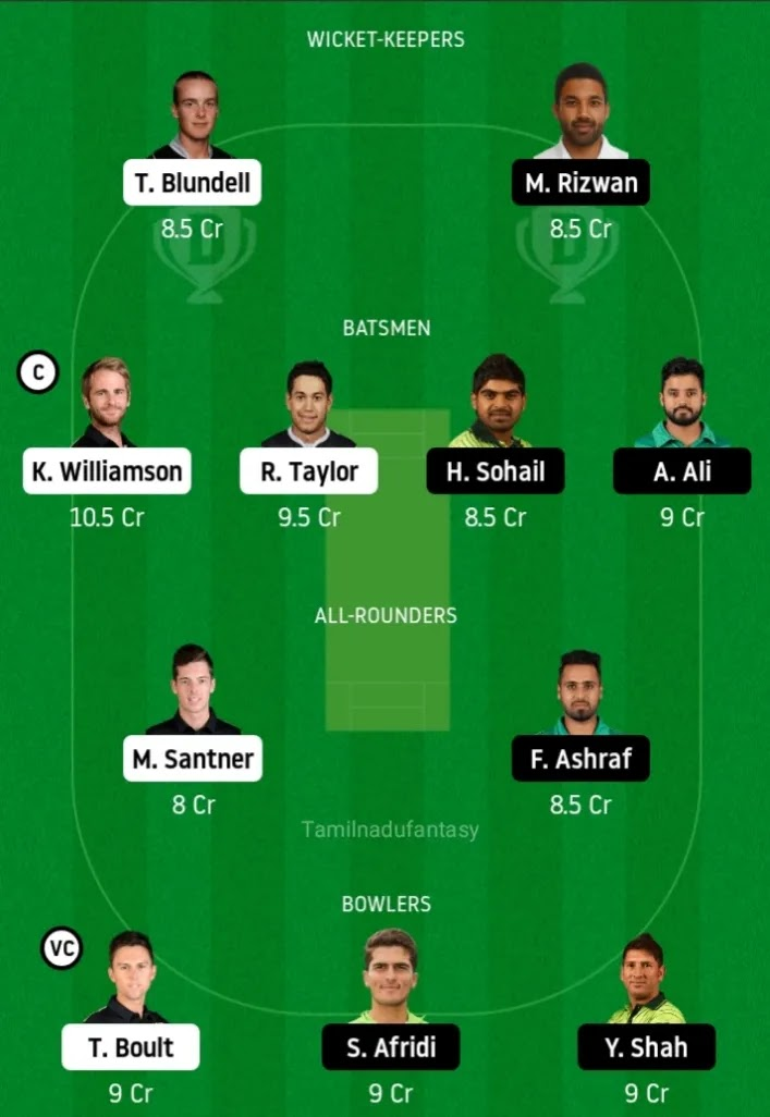 NZ vs PAK dream 11 prediction