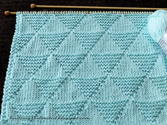 Just Knit and Purl. Stockinette and Garter Triangle. I think it's perfect for a cozy baby blanket.