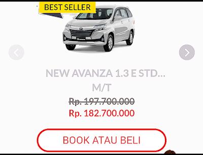 Info detail tentang Toyota Avanza di web Auto2000