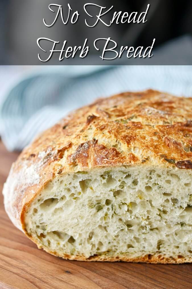 This herb bread is super easy to make, and you can use any herbs you have on hand. All you need is some flour, salt, water, and a teeny tiny bit of yeast.