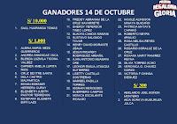 ganadores la promo regalona de gloria 14 de octubre