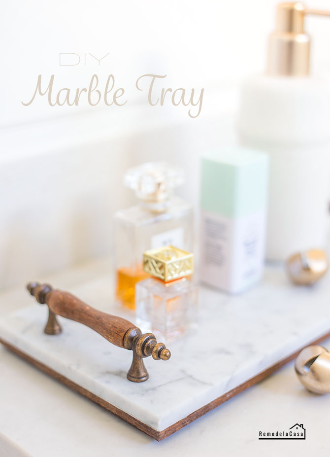 diy marble tray with wooden and metal handles