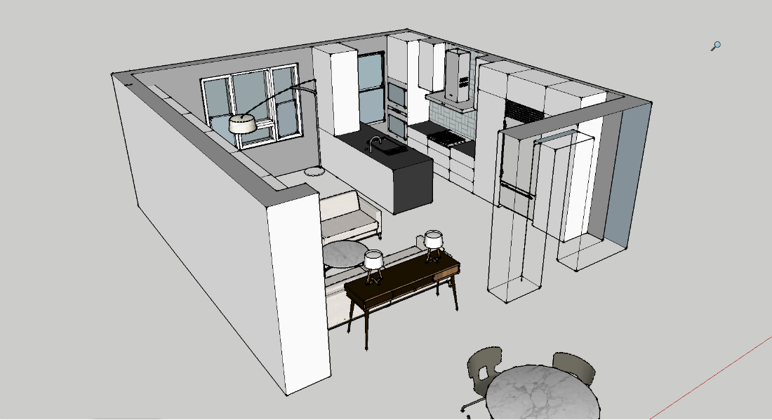 Sketchup of My Open Concept Kitchen