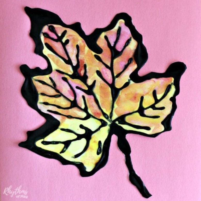watercolor fall leaves autumn craft for kids
